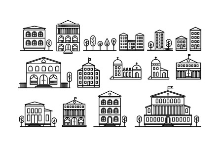 Set of urban and suburban houses icons. Vector illustration.