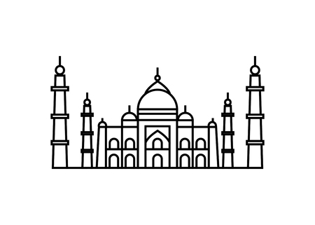 Vector illustration concept of Taj Mahal icon. Black on white background