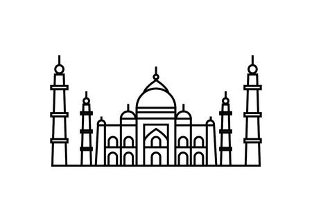 Vektorillustrationskonzept des Taj Mahal-Symbols. Schwarz auf weißem Hintergrund