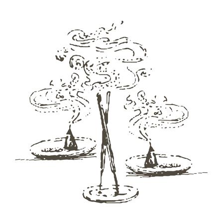 Vector illustration dessinée à la main de la silhouette de l'encens