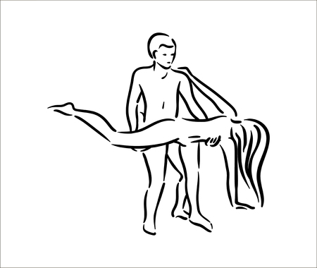 Kama sutra pose. Sex poses illustration of man and woman on white background Vetores