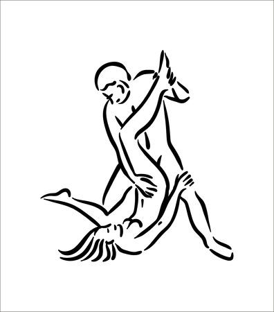 Posa del Kamasutra. Il sesso pone l'illustrazione dell'uomo e della donna su sfondo bianco