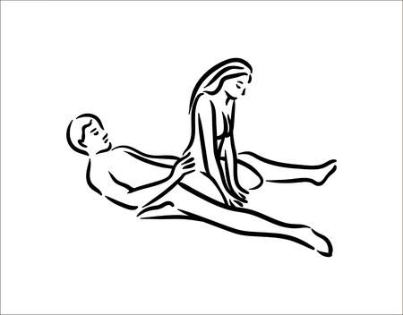 Kamasutra-Pose. Sex stellt Illustration von Mann und Frau auf weißem Hintergrund dar Vektorgrafik