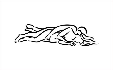 Posture du Kama-sutra. Le sexe pose l'illustration de l'homme et de la femme sur fond blanc Vecteurs