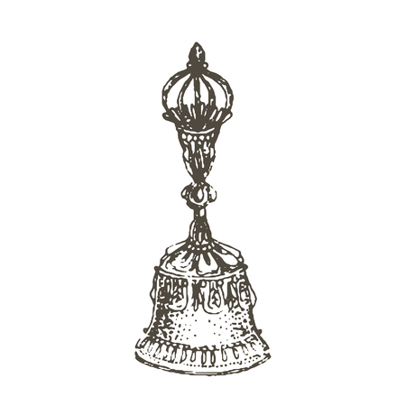 Vector illustration concept of Tibetian religion bell icon. Black on white background