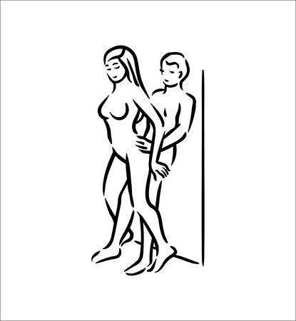 Postura del Kama Sutra. El sexo plantea la ilustración del hombre y la mujer sobre fondo blanco.