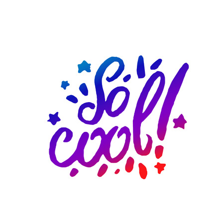 Vector illustration concept of So cool phrase word illustration on colorful rainbow background