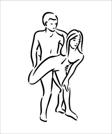 Posture du Kama-sutra. Le sexe pose l'illustration de l'homme et de la femme sur fond blanc