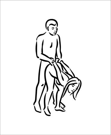 Kama sutra pose. Sex poses illustratie van man en vrouw op witte achtergrond