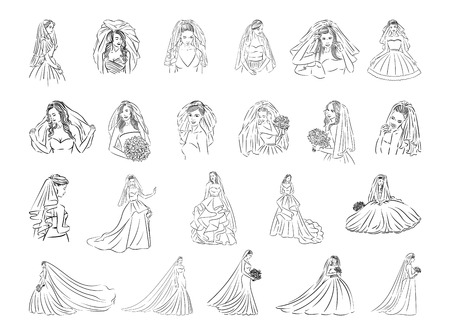 Vector illustration concept of Bride icon. Black on white background