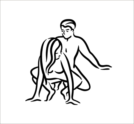 Kama sutra sexual pose. Sex poses illustration of man and woman on white background Reklamní fotografie - 118658749