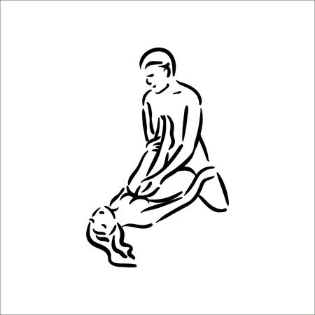 Postura del Kama Sutra. El sexo plantea la ilustración del hombre y la mujer sobre fondo blanco. Ilustración de vector
