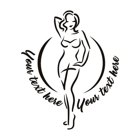 Vektor handgezeichnete Illustration der Frauenfigur Silhouette