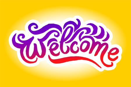 Vector hand drawn illustration of Welcome logo lettering illustration