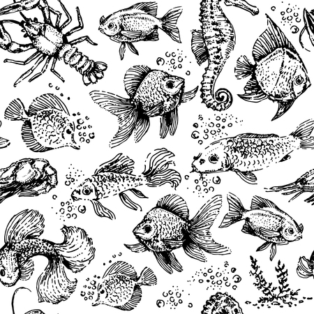 Seamless sea animals pattern. Fish and lobster illustration