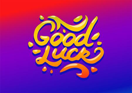 Vector hand drawn illustration of Good luck illustration on white background.