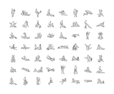 Kama sutra pose. Sex poses illustration of man and woman on white background