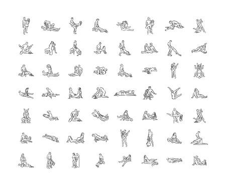 Kamasutra-Pose. Sex stellt Illustration von Mann und Frau auf weißem Hintergrund dar