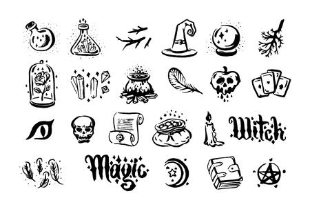 Gezeichnete Illustration des Vektors Hand der Hexe und der magischen Einzelteilillustration auf weißem Hintergrund.