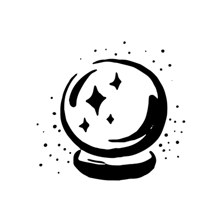 Vector hand drawn Witch and magic item crystal ball illustration on white background. Illustration