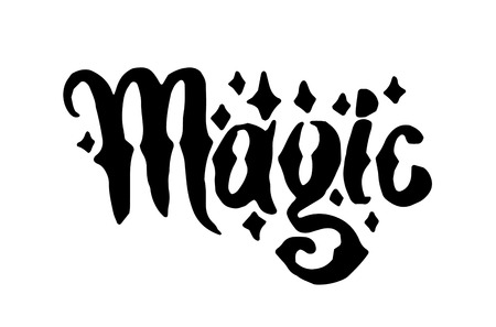 Vector hand drawn Witch and magic word lettering illustration on white background. Illustration