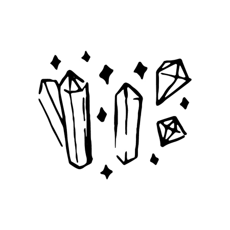 Vector hand drawn Witch and magic crystal item illustration on white background.