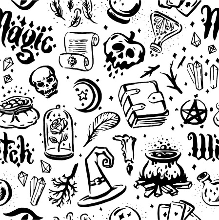 Vector hand drawn illustration of Witch and magic item illustration seamless pattern on white background.