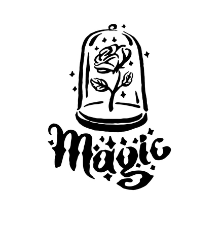 Vector hand drawn Witch and magic item rose in a flask illustration on white background.