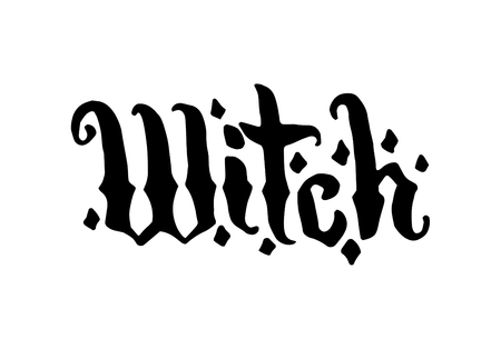 Vector hand drawn Witch and magic hat item illustration with lettering on white . Illustration