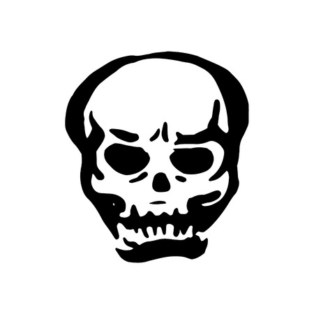 Vector hand drawn Witch and magic item skull illustration on white background. Illustration