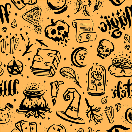 Vector hand drawn illustration of Witch and magic item illustration seamless pattern Illustration