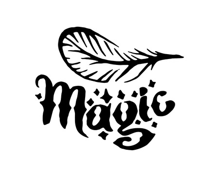 Vector hand drawn Witch and magic feather item illustration on white background.