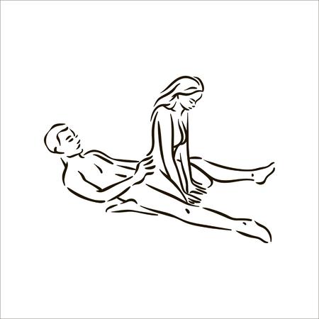Vector main dessinée Kama Sutra pose homme et femme amoureux illustration sur fond blanc