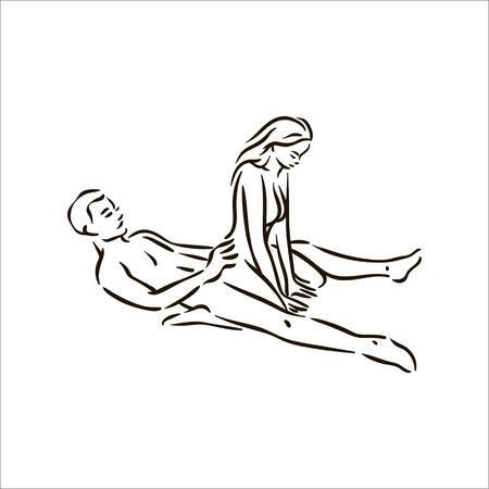Vettore disegnato a mano Kama Sutra posa uomo e donna innamorata illustrazione su sfondo bianco