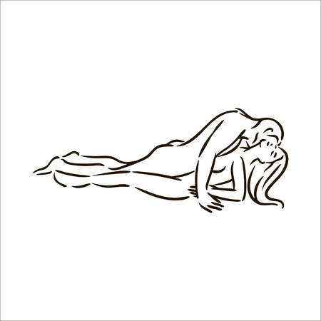 Vector hand drawn Kama Sutra sex pose man and woman in love illustration on white background