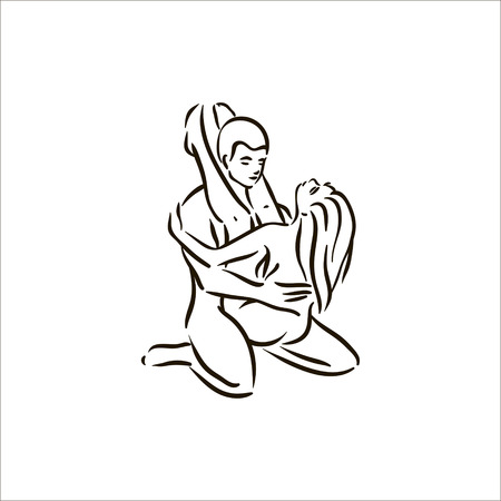 Vector hand getekend Kama Sutra pose man en vrouw in liefde illustratie op witte achtergrond