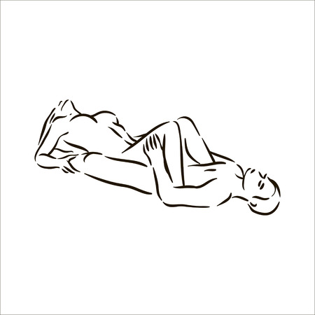 Vector hand drawn Kama Sutra pose man and woman in love illustration on white background Vetores