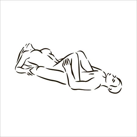 Vettore disegnato a mano Kama Sutra posa uomo e donna innamorata illustrazione su sfondo bianco Vettoriali
