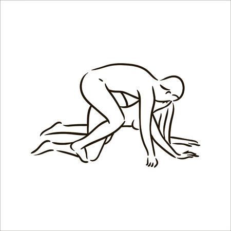 Vector dibujado a mano Kama Sutra plantean hombre y mujer enamorados ilustración sobre fondo blanco
