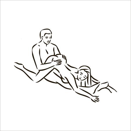 Vektor handgezeichnete Kama Sutra Pose Mann und Frau in der Liebe Illustration auf weißem Hintergrund