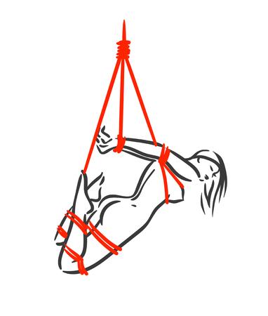 Línea arte hembras shibari con ilustración de vector de cuerda roja aislada sobre fondo blanco