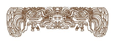 Glifos gráficos mayas del vintage, ornamentos y símbolos del zodiaco inca y azteca en el viejo estilo indio americano. Ilustración del vector y dibujo del garabato para el diseño. Ilustración de vector