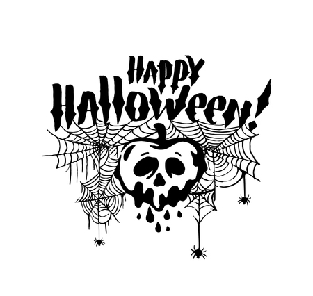 Happy Halloween witch Pumpkin Background Vector Illustration. Halloween Flat Design.