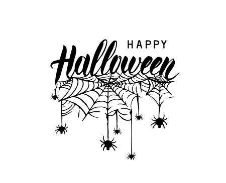Happy Halloween witch Pumpkin Background Vector Illustration. Halloween Flat Design. Vetores