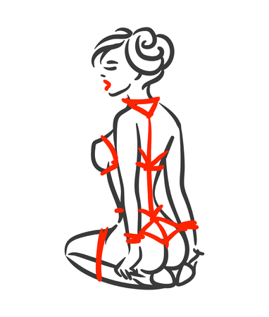 Line art bdsm shibari bondage fetish females with red rope vector illustration isolated on white background Illustration