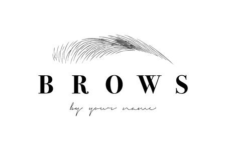 Beautiful vector hand drawing eyebrows for the logo of the master on the eyebrows. Business card template.