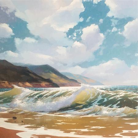 Dipinto ad olio vettoriale originale di mare e spiaggia su tela. Ricco sole dorato sul mare. Impressionismo del realismo moderno. Costa del Mar Nero vicino a Yalta.