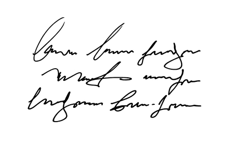 Vector hand drawn Template old vintage text. Unreadable I illegible handwriting. illustration on white background.