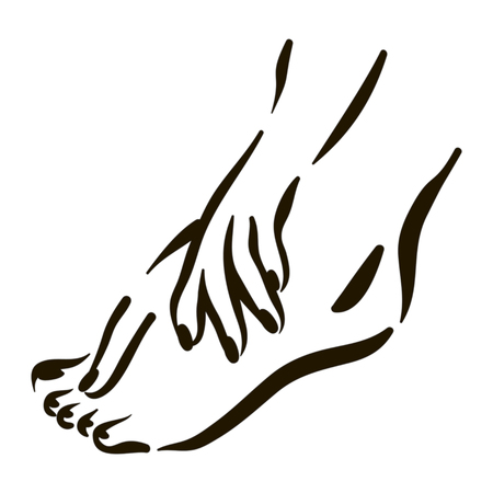 Vector foot care Icon illustration. Woman feet symbol on white background