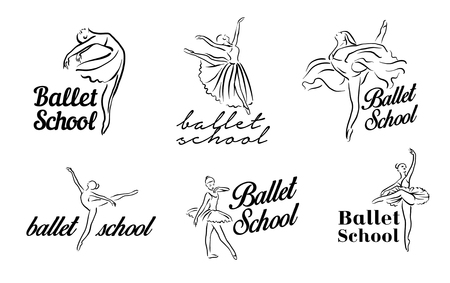 Artistic hand drawn pictures set of theatre theme. Ballerinas dancing. Ballerina dancer with tutu 일러스트